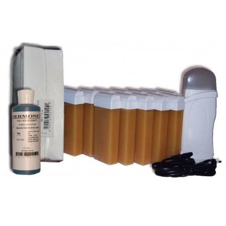 Kit chauffe-cire - 12x100ml - MIEL - Bandes, cire à épiler, huile