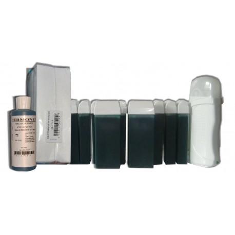 Kit chauffe cire - 12x100ml - CHLOROPHYLLE - Bandes, cire à épiler, huile