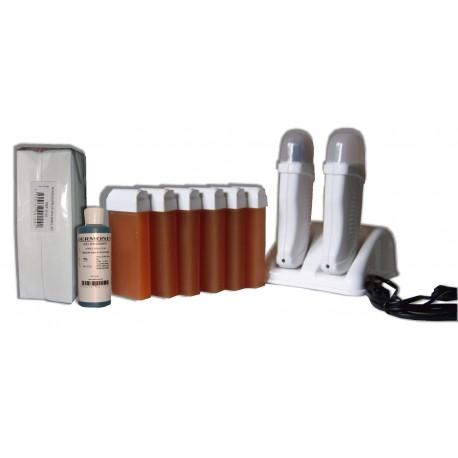 Kit épilation DUO - 6 x 100 ml - Cire à épiler MIEL + 250 BANDES + HUILE