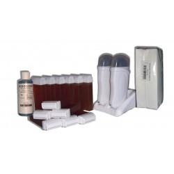 Kit épilation DUO - 12 x 100 ml - Cire à épiler TOPAZ + 250 BANDES + HUILE