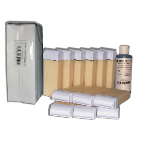 NACREE BLANCHE - 12 recharges de cire à épiler + 250 bandes + huile