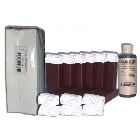 CHOCOLAT - 12 recharges de cire à épiler + 250 bandes + huile