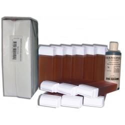 TOPAZ type Miel - 12 recharges de cire à épiler + 250 bandes + huile