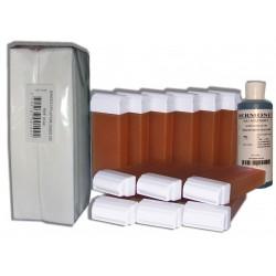 Miel - 12 Recharges de cire à épiler + 250 Bandes + Huile