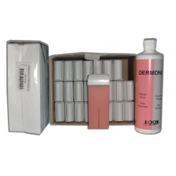 ROSE - Cire à épiler Roll-On - 24x100 ml - Bandes, huile 500 ml