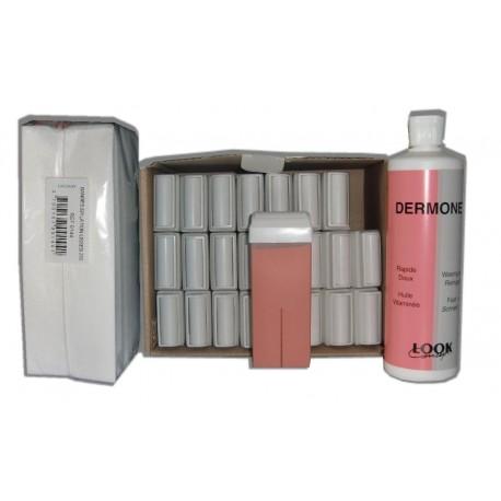 ROSE - Cire à épiler Roll-On - 24x100 ml - Bandes, huile 500 ml