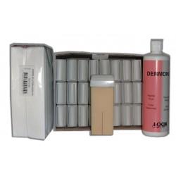 NACRE BLANCHE - Cire à épiler Roll-On - 24x100ml - Bandes, huile 500 ml
