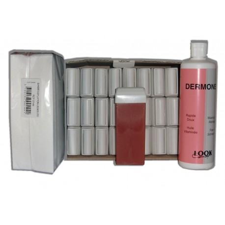 FRUITS ROUGES - Cire à épiler Roll On - 24 x 100 ml - Bandes, huile 500 ml