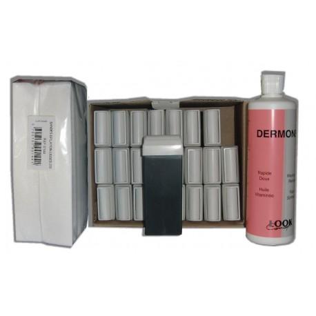 AZUR - Cire à épiler Roll-On - 24 x 100 ml - Bandes, huile 500 ml